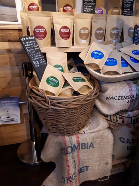 Colombia Coffee Roasters in Oxford raised funds for Children of Colombia with a collection box in their coffee shop in Oxford's Covered Market