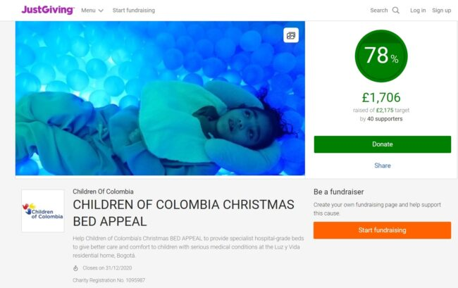 Donate now to help Children of colombia's Christmas Bed Appeal reach its target to buy beds for sick children at the Luz y Vida home in Bogota, Colombia